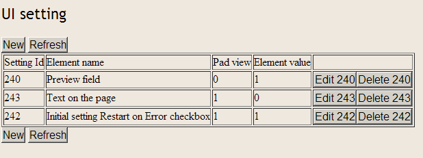 table of UI setting